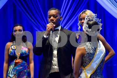 Issac Bivins Jr. answers a question during the Mr. and Miss Jarvis Pageant at Jarvis Christian College in Hawkins, Texas, on Wednesday, March 22, 2017. The pageant featured personal style, professional attire, an oral presentation, formal wear, and question and answer rounds. (Chelsea Purgahn/Tyler Morning Telegraph)