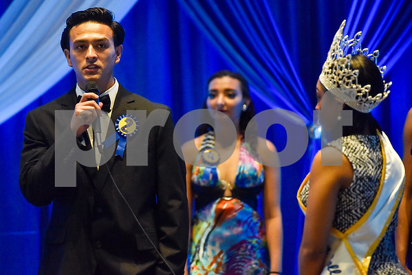 Isaiah Lopez answers a question during the Mr. and Miss Jarvis Pageant at Jarvis Christian College in Hawkins, Texas, on Wednesday, March 22, 2017. The pageant featured personal style, professional attire, an oral presentation, formal wear, and question and answer rounds. (Chelsea Purgahn/Tyler Morning Telegraph)