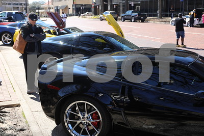 Corvettes from Tyler Outlaw Corvette Club on display at the Coffee and Donuts Festival, Downtown Square.