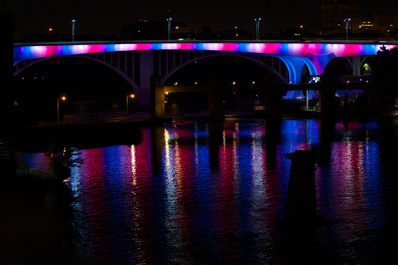 The 35W Bridge ran red, white and blue on 9/11/11, the tenth anniversary of the September 11th attacks.