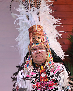 The leader of the Tloke-Nahuake (Aztec) Dance Troupe of Mexico. 35th Annual Miccosukee Indian Arts Festival.