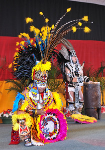 A dancer of the Tloko-Nahuake Traditional Aztec troupe performs at the 36th Annual Miccosukee Indian Arts Festival.