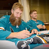 Sharks Joe Thornton signs a jersey for a fan
