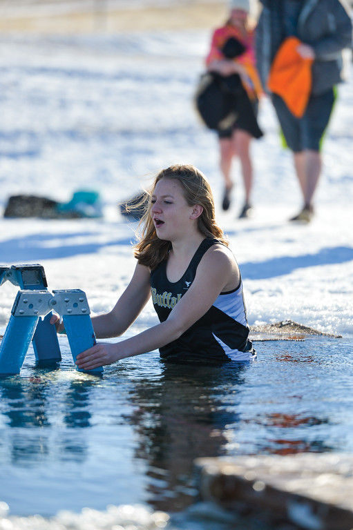 Ashleigh Fox | The Sheridan Press<br /> Maggie Chapin of Buffalo takes her last breath before submerging in the icy waters of Lake DeSmet for the Polar Plunge Jan. 1, 2018. This year marked the 36th Lake DeSmet Polar Plunge.