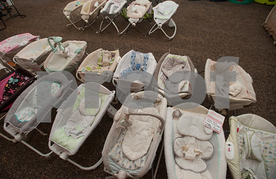 Baby items are arranged at Harvey Convention Center in Tyler on Wednesday April 11, 2018 for the upcoming CCC Sale. The CCC Sale is a consignment sale with items from over 1,400 families including children's clothes, home decor, baby items, bicycles and even furniture. The sale is open April 12-14. Items that don't sell either go back to the owner or are donated to charity.   (Sarah A. Miller/Tyler Morning Telegraph)
