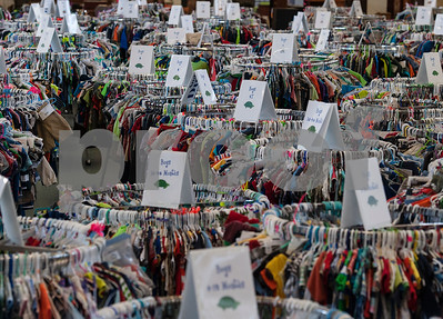 The main room at Harvey Convention Center in Tyler on Wednesday April 11, 2018 is filled with thousands of children's clothes for boys and girls for the upcoming CCC Sale. The CCC Sale is a consignment sale with items from over 1,400 families including children's clothes, home decor, baby items, bicycles and even furniture. The sale is open April 12-14. Items that don't sell either go back to the owner or are donated to charity.   (Sarah A. Miller/Tyler Morning Telegraph)