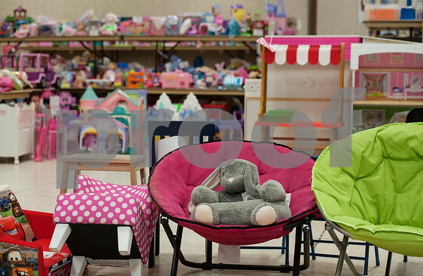 Toys fill shelves and the floor at Harvey Convention Center in Tyler on Wednesday April 11, 2018 for the upcoming CCC Sale. The CCC Sale is a consignment sale with items from over 1,400 families including children's clothes, home decor, baby items, bicycles and even furniture. The sale is open April 12-14. Items that don't sell either go back to the owner or are donated to charity.   (Sarah A. Miller/Tyler Morning Telegraph)