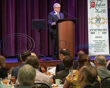 TEDC President/CEO Tom Mullins presents the President's 2018 Activity Report to  attendees at the 30th Annual TEDC Investors and  Contributors Appreciation Luncheon on April 11, 2019 at the Crosswalk Convention Center, Tyler, Tx.  (Rick Flck/Freelance)