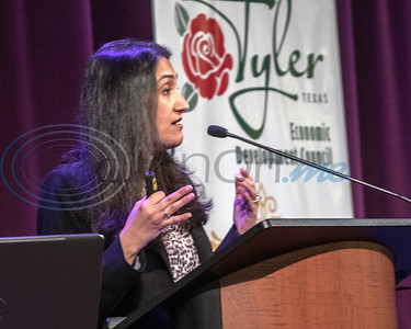 Senior Business Economist Laila Assanie, of the Federal Reserve Bank of Dallas, speaks to  attendees at the 30th Annual TEDC Investors and  Contributors Appreciation Luncheon on April 11, 2019 at the Crosswalk Convention Center, Tyler, Tx. (Rick Flack/Freelance)