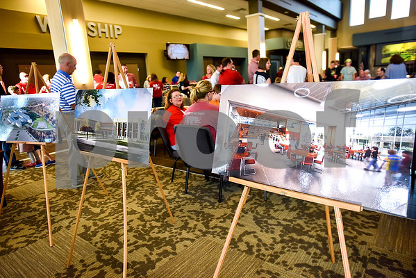 Signs depicting proposed renovations during a Tyler Proud rally at First Christian Church in Tyler, Texas, on Tuesday, April 18, 2017.  The rally was held to support renovations at Robert E. Lee as part of the May 6 bond election. (Chelsea Purgahn/Tyler Morning Telegraph)