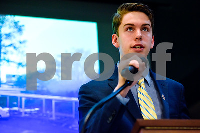 Robert E. Lee student William Johnson speaks during a Tyler Proud rally at First Christian Church in Tyler, Texas, on Tuesday, April 18, 2017.  The rally was held to support renovations at Robert E. Lee as part of the May 6 bond election. (Chelsea Purgahn/Tyler Morning Telegraph)
