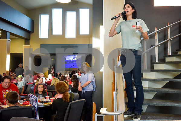 Elicia Eckert speaks during a Tyler Proud rally at First Christian Church in Tyler, Texas, on Tuesday, April 18, 2017.  The rally was held to support renovations at Robert E. Lee as part of the May 6 bond election. (Chelsea Purgahn/Tyler Morning Telegraph)
