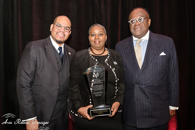Dr. Hakim J. Lucas, President and CEO ,  Virginia Union University,  and Dr. W. Franklyn Richardson, Chairman, VUU Board of Trustees presents the MLK Lifetime Service Award to Margaret Hancock-Carter of the NCNW, Richmond Section,  at the The 41st Annual community Leaders Breakfast honoring the Legacy of Rev. Dr. Martin Luther King, Jr. hosted by Virginia Union University on Friday, January 18, 2019 at the Richmond Marriott