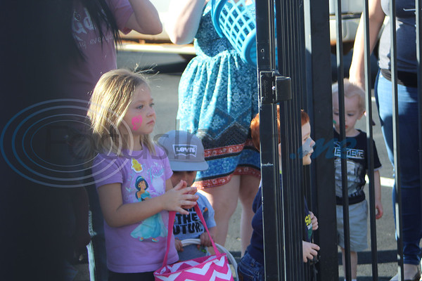 Children lined up in preperation to hunt eggs at the Easter Eggstavaganza at First Baptist Church in Bullard. Sarah Perez/Freelance