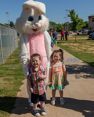 Two young hunters with the Easter Bunny at the 4th Annual Community of Whitehouse Easter Egg Hunt, Saturday,  April  20th,  at the Whitehouse Sports Complex in Tyler, Tx. (Rick Flack/Freelance)