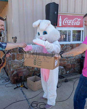 The Easter Bunny draws a name for a new bike at the 4th Annual Whitehouse Community Easter Egg hunt, Saturday April 20, 2019 at the Tyler Sports Complex, Tyler, Tx. (Rick Flack/Freelance)