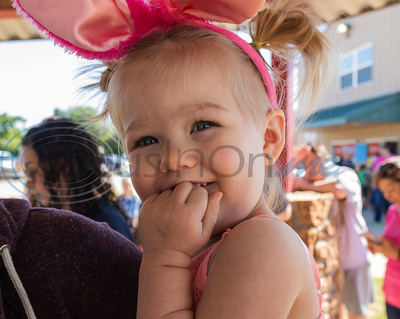 A young Easter Egg Hunter at the 4th Annual Community of Whitehouse Easter Egg Hunt, Saturday,  April  20th,  at the Whitehouse Sports Complex in Tyler, Tx. (Rick Flack/Freelance)