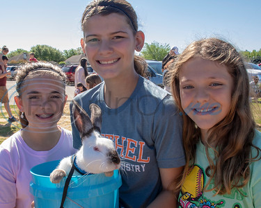 These Easter Egg hunters even brought their own rabbit to the 4th Annual Community of Whitehouse Easter Egg Hunt, Saturday,  April  20th,  at the Whitehouse Sports Complex in Tyler, Tx. (Rick Flack/Freelance)
