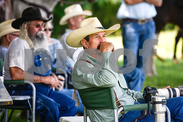 Hugh Shelton waits for the racing to start during the fifth annual 1836 Chuckwagon Race presented by Diamond Ranch in Neches, Texas, on Friday, April 21, 2017. Hundreds came to the event to see cattle roping, horse racing, live music and more. (Chelsea Purgahn/Tyler Morning Telegraph)