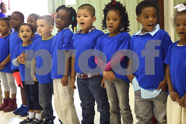 Head Start students perform a song during the Smith County Child Abuse Awareness Proclamation Day Program at St. Louis Early Childhood Center Friday April 22, 2016.  (Sarah A. Miller/Tyler Morning Telegraph)
