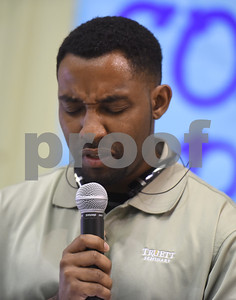 Rev. James Taylor gives the invocation during the Smith County Child Abuse Awareness Proclamation Day Program at St. Louis Early Childhood Center Friday April 22, 2016.  (Sarah A. Miller/Tyler Morning Telegraph)