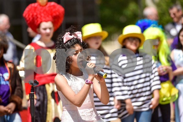 Dulcinea Coss, 11, performs during East Texas Giving Day at T.B. Butler Fountain Plaza in Tyler, Texas, on Tuesday, April 25, 2017. East Texas Giving Day is designed to make the most of social media by getting donors to share the fact that they made a donation with their friends and followers on social media.The hope is for those shares to inspire interest and potentially more donations. (Chelsea Purgahn/Tyler Morning Telegraph)