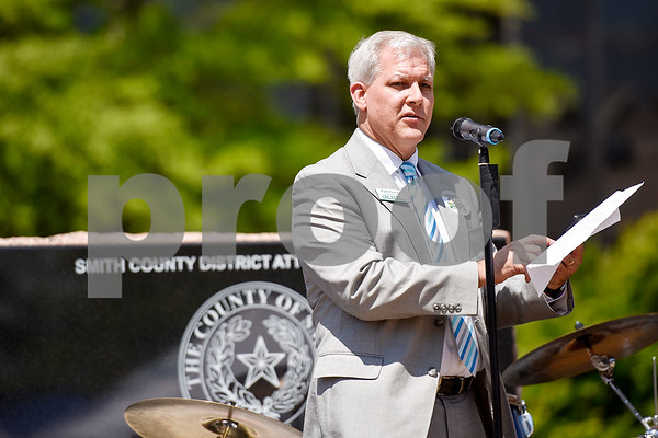 Kyle Penney, president of East Texas Communities Foundation, speaks during East Texas Giving Day at T.B. Butler Fountain Plaza in Tyler, Texas, on Tuesday, April 25, 2017. East Texas Giving Day is designed to make the most of social media by getting donors to share the fact that they made a donation with their friends and followers on social media. The hope is for those shares to inspire interest and potentially more donations. East Texas Communities Foundation is a nonprofit corporation serving 32 counties in East Texas. (Chelsea Purgahn/Tyler Morning Telegraph)