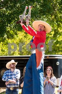 Kornpop the clown dances during Kids' Kaleidoscope Preschool's annual Texas Day event at Pollard United Methodist Church in Tyler, Texas, on Thursday, April 26, 2018. (Chelsea Purgahn/Tyler Morning Telegraph)