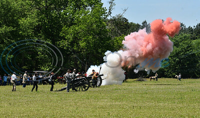 Cannons are fired during the Grand Entry to kick off the 1836 Chuckwagon Races on Saturday, April 27. The weeklong event also included several clinics, trail rides and a mounted shooting competition. (Jessica T. Payne/Tyler Morning Telegraph)
