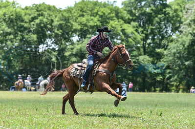 A rider races down the field at the 1836 Chuckwagon Races on Saturday, April 27. The weeklong event was held at the Diamond B Ranch in Neches and included several clinics, trail rides and a mounted shooting competition. (Jessica T. Payne/Tyler Morning Telegraph)