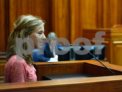 Grace Community School eighth grader Sarah Grace Zandstra testifies in court on Tuesday during a mock trial held at the William M. Steger Building and United States Courthouse. (Victor Texcucano)