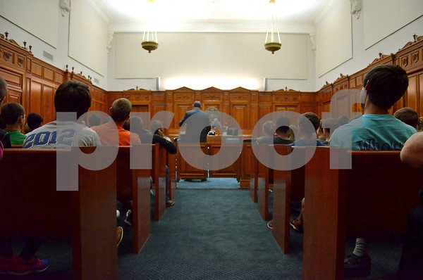 Eighth grade students from Grace Community School listen to a mock trial held on Tuesday at the William M. Steger Building and United States Courthouse. (Victor Texcucano)