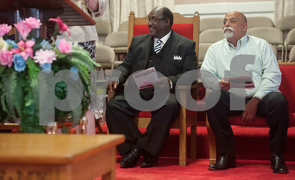 Rev. Jerome R. Milton, senior pastor of Greater New Pleasant Hill Missionary Baptist Church and Anwar Khalifa of East Texas Islamic Society are speakers at an event honoring the life and legacy of Dr. Martin Luther King, Jr. on Wednesday April 4, 2018 at Greater New Pleasant Hill Missionary Baptist Church in Tyler. King was assassinated April 4, 1968 at a hotel in Memphis, Tennessee.   (Sarah A. Miller/Tyler Morning Telegraph)