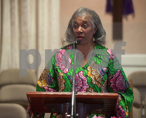 Smith County Commissioner JoAnn Hampton speaks during an event honoring the life and legacy of Dr. Martin Luther King, Jr. on Wednesday April 4, 2018 at Greater New Pleasant Hill Missionary Baptist Church in Tyler. King was assassinated April 4, 1968 at a hotel in Memphis, Tennessee.   (Sarah A. Miller/Tyler Morning Telegraph)