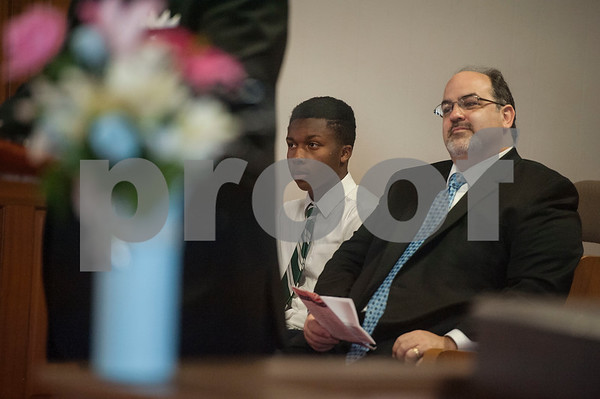 Rev. Emmanuel Milton-Tucson and Rabbi Neal Katz of Temple Beth El listen as Rev. Jerome R. Milton speaks during an event honoring the life and legacy of Dr. Martin Luther King, Jr. on Wednesday April 4, 2018 at Greater New Pleasant Hill Missionary Baptist Church in Tyler. King was assassinated April 4, 1968 at a hotel in Memphis, Tennessee.   (Sarah A. Miller/Tyler Morning Telegraph)