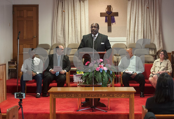 Rev. Jerome R. Milton, senior pastor of Greater New Pleasant Hill Missionary Baptist Church, speaks during an event at Greater New Pleasant Hill Missionary Baptist Church in Tyler honoring the life and legacy of Dr. Martin Luther King, Jr. King was assassinated April 4, 1968 at a hotel in Memphis, Tennessee.  (Sarah A. Miller/Tyler Morning Telegraph)