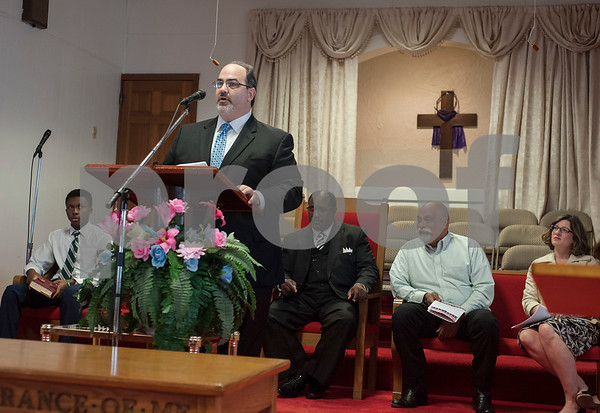 Rabbi Neal Katz of Temple Beth El speaks during an event honoring the life and legacy of Dr. Martin Luther King, Jr. on Wednesday April 4, 2018 at Greater New Pleasant Hill Missionary Baptist Church in Tyler. King was assassinated April 4, 1968 at a hotel in Memphis, Tennessee.   (Sarah A. Miller/Tyler Morning Telegraph)