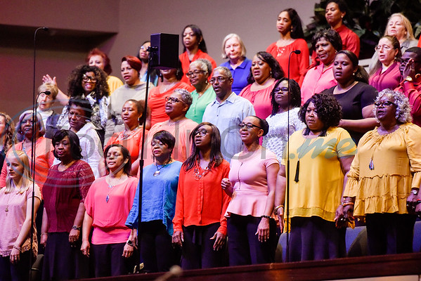The Tyler Community Choir sings during the re:new Gathering ahead of CityFest East Texas, which will be held in October, at Green Acres Baptist Church in Tyler, Texas, on Thursday, April 4, 2019. (Chelsea Purgahn/Tyler Morning Telegraph)
