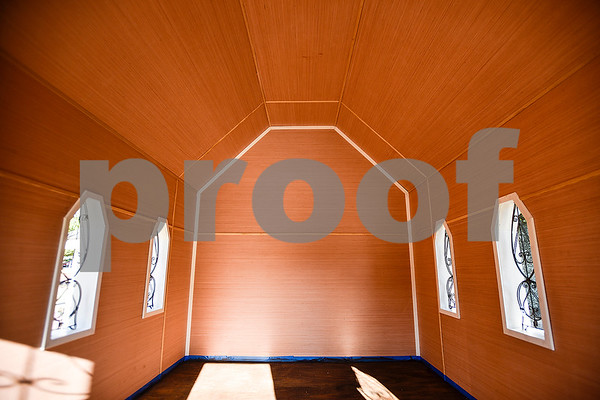 The interior of a church playhouse that was moved to T.B. Butler Fountain Plaza in Tyler, Texas, on Thursday, March 30, 2017. Eight playhouses were built and donated for Playhouses on the Plaza, a live auction benefiting the Habitat for Humanity of Smith County. (Chelsea Purgahn/Tyler Morning Telegraph)
