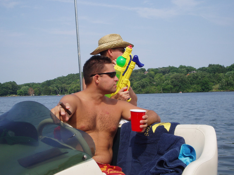 Here's capn' joe and<br /> he's got his guns in tow <br /> on the pontoon..
