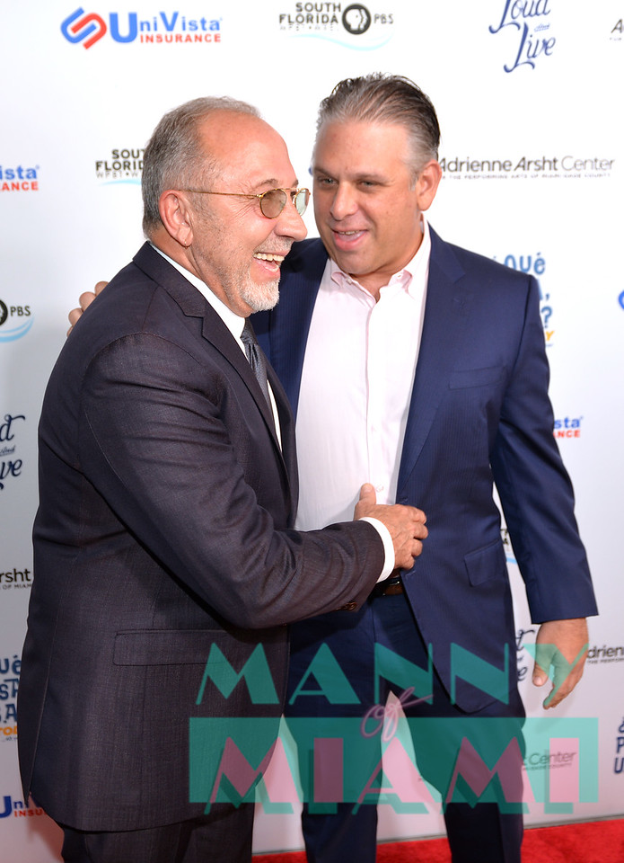 MIAMI, FL - MAY 17: Nelson Albareda and Emilio Estefan at opening night of the live stage production of '¿Que Pasa, USA? Today...40 Years Later' on May 17, 2018 in Miami, Florida. ((Photo by Manny Hernandez)