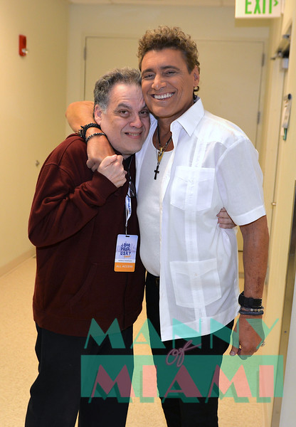 MIAMI, FL - MAY 17: Gonzalo Rodriguez and Steven Bauer at opening night of the live stage production of '¿Que Pasa, USA? Today...40 Years Later' on May 17, 2018 in Miami, Florida. (Photo by Manny Hernandez)