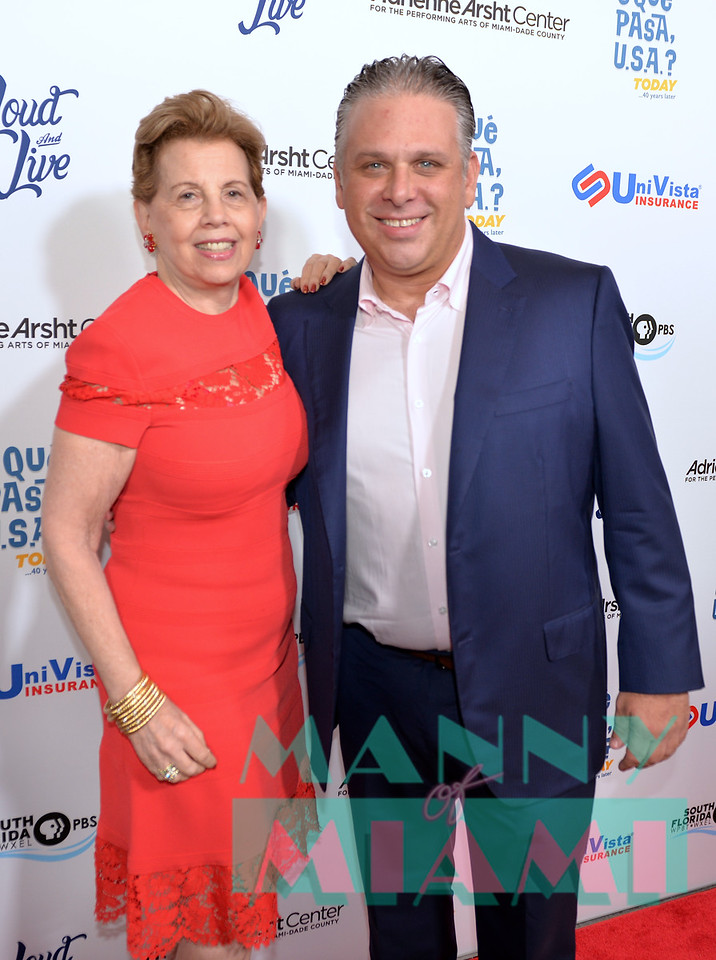 MIAMI, FL - MAY 17: Adrienne Arsht and Nelson Albareda at opening night of the live stage production of '¿Que Pasa, USA? Today...40 Years Later' on May 17, 2018 in Miami, Florida. (Photo by Manny Hernandez)