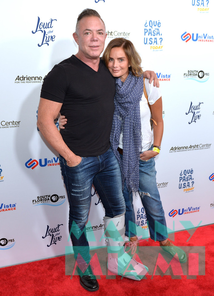 MIAMI, FL - MAY 17: Shareef Malnik and Gabrielle Anwar at opening night of the live stage production of '¿Que Pasa, USA? Today...40 Years Later' on May 17, 2018 in Miami, Florida. (Photo by Manny Hernandez)