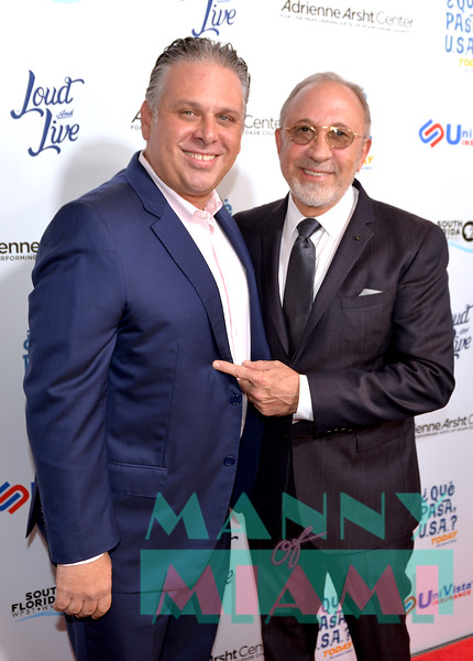 MIAMI, FL - MAY 17: Nelson Albareda and Emilio Estefan at opening night of the live stage production of '¿Que Pasa, USA? Today...40 Years Later' on May 17, 2018 in Miami, Florida.(Photo by Manny Hernandez)