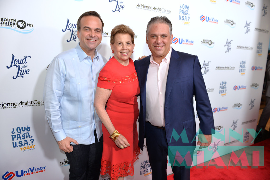 MIAMI, FL - MAY 17: Jorge Plasencia, Adrienne Arsht and Nelson Albareda at opening night of the live stage production of '¿Que Pasa, USA? Today...40 Years Later' on May 17, 2018 in Miami, Florida. (Photo by Manny Hernandez)