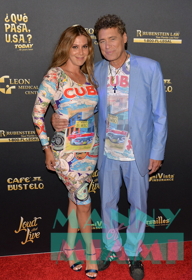 MIAMI, FL - MAY 17: Steven Bauer and Leticia Peña at opening night of the live stage production of '¿Que Pasa, USA? Today...40 Years Later' on May 17, 2018 in Miami, Florida. (Photo by Manny Hernandez)