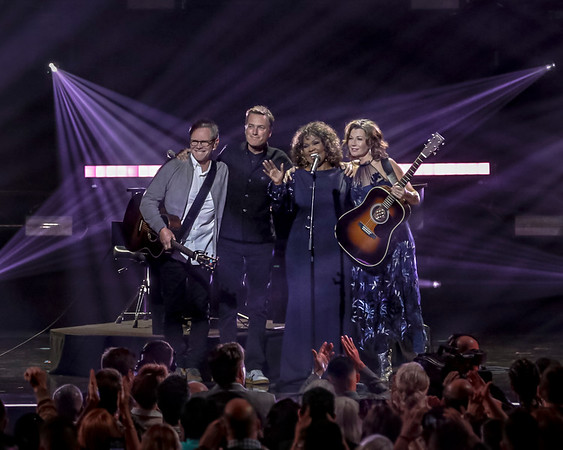 Christian music giants (L-R) Steven Curtis Chapman, Michael W. Smith, Cece Winans, and Amy Grant performing the 50th Annual GMA Dove Awards at Allen Arena, Lipscomb University on October 15, 2019 in Nashville, Tennessee. (Photo by Annette Holloway)