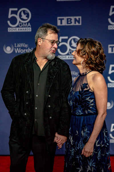 Amy Grant and Vince Gill on the red carpet for the 50th Annual GMA Dove Awards at Allen Arena, Lipscomb University on October 15, 2019 in Nashville, Tennessee. (Photo by Annette Holloway)