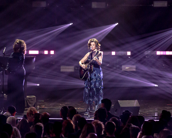 "Amy Grant performing hit song ""El Shaddai"" for the 50th Annual GMA Dove Awards at Allen Arena, Lipscomb University on October 15, 2019 in Nashville, Tennessee. (Photo by Annette Holloway)"
